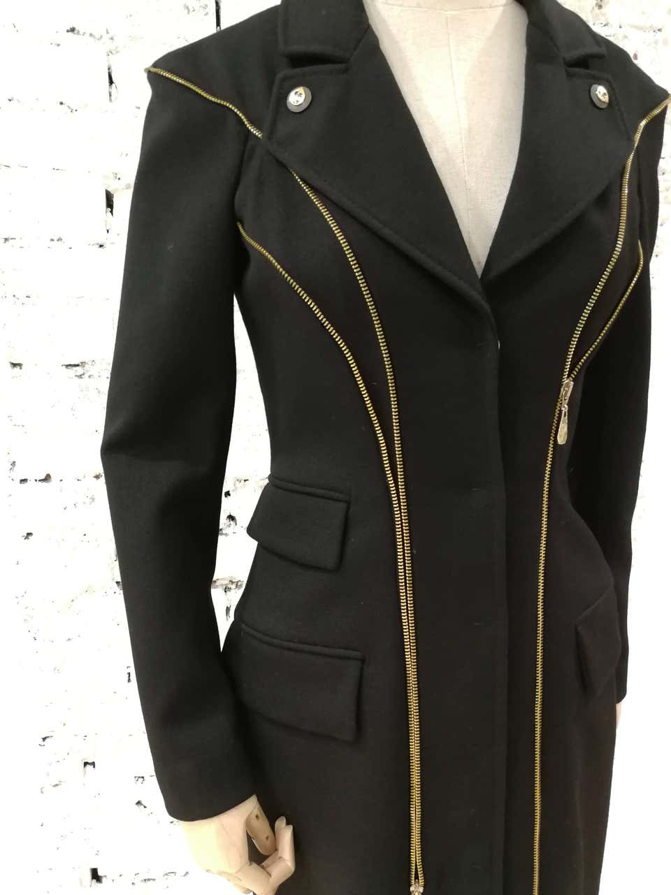 Versace Black wool Gold tone Zip Coat Versace | Coats | FG02A080ETNERO