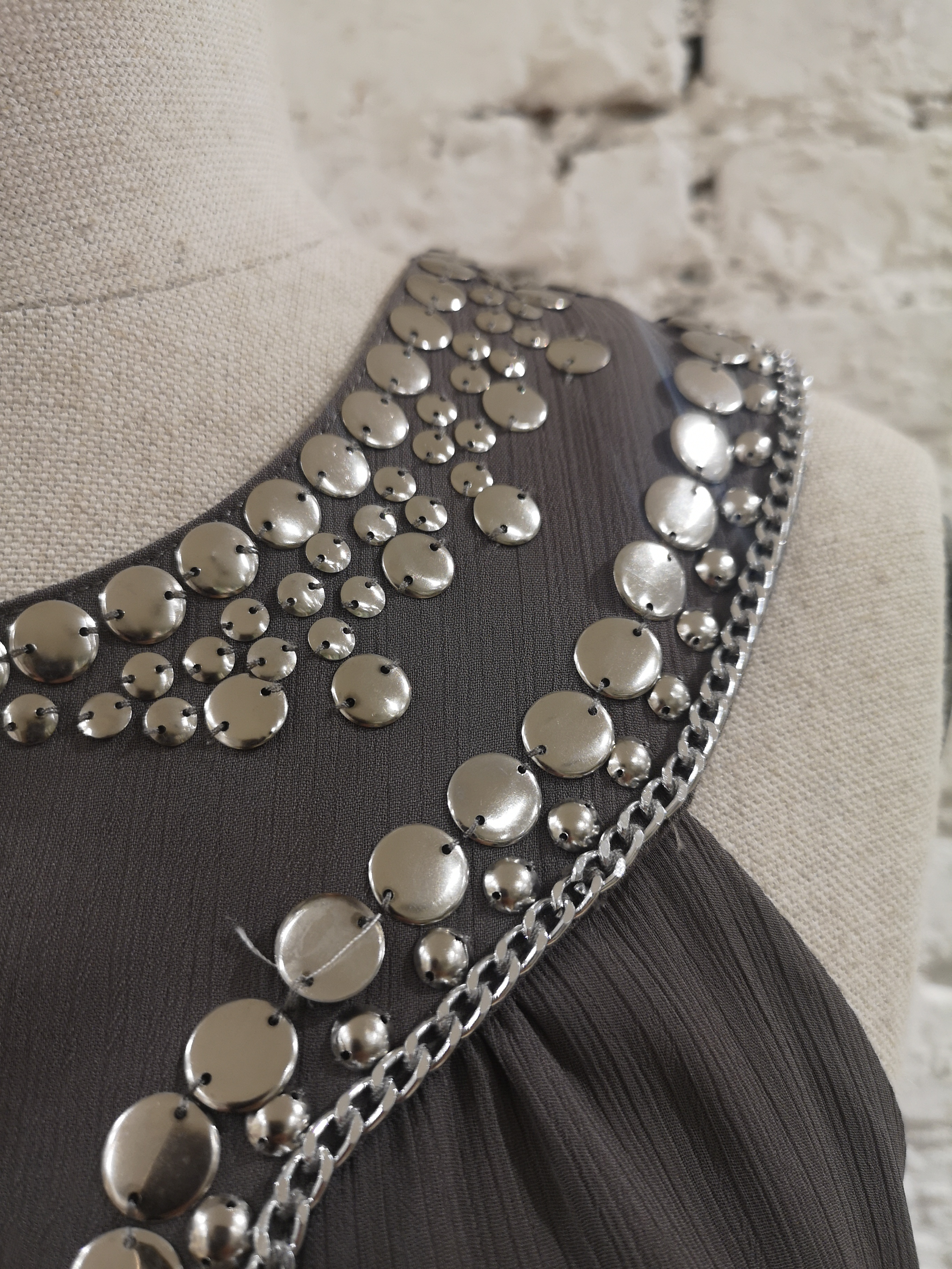 Laurie & Joe paris grey with silver beads dress VIntage | Abito | EC01880PLOÒGRIGIO
