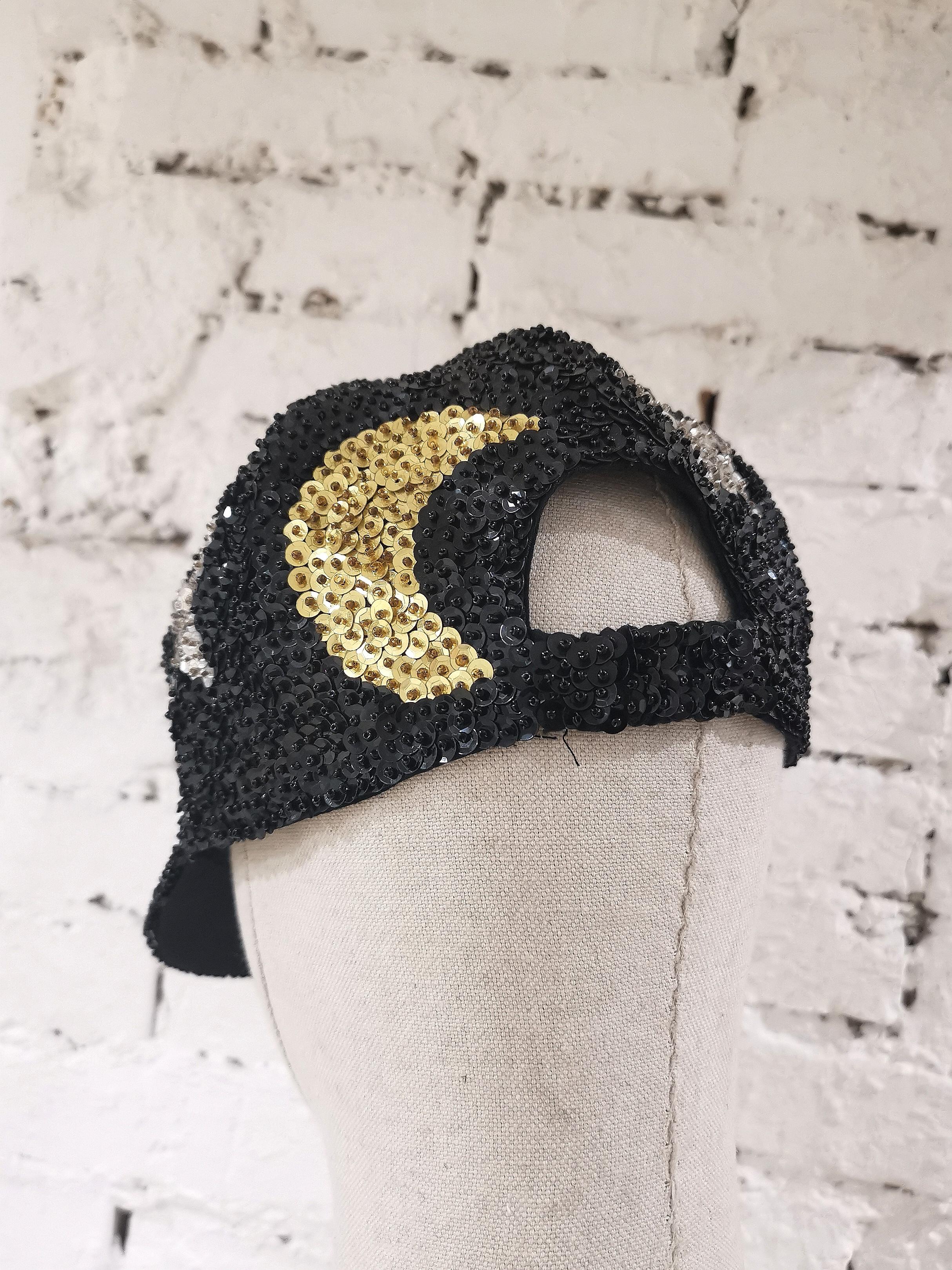 Black silver stars gold moons sequins hat VIntage | Cappello | VXR0011CONCHIGLIA