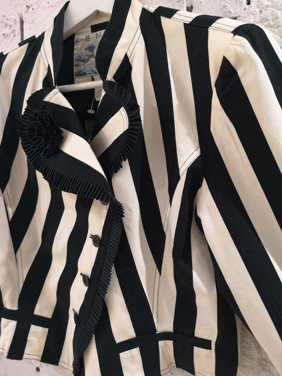 Kenzo off white and Black Flower Jacket Kenzo | Giacca | LE01930XS0BIANCO NERO