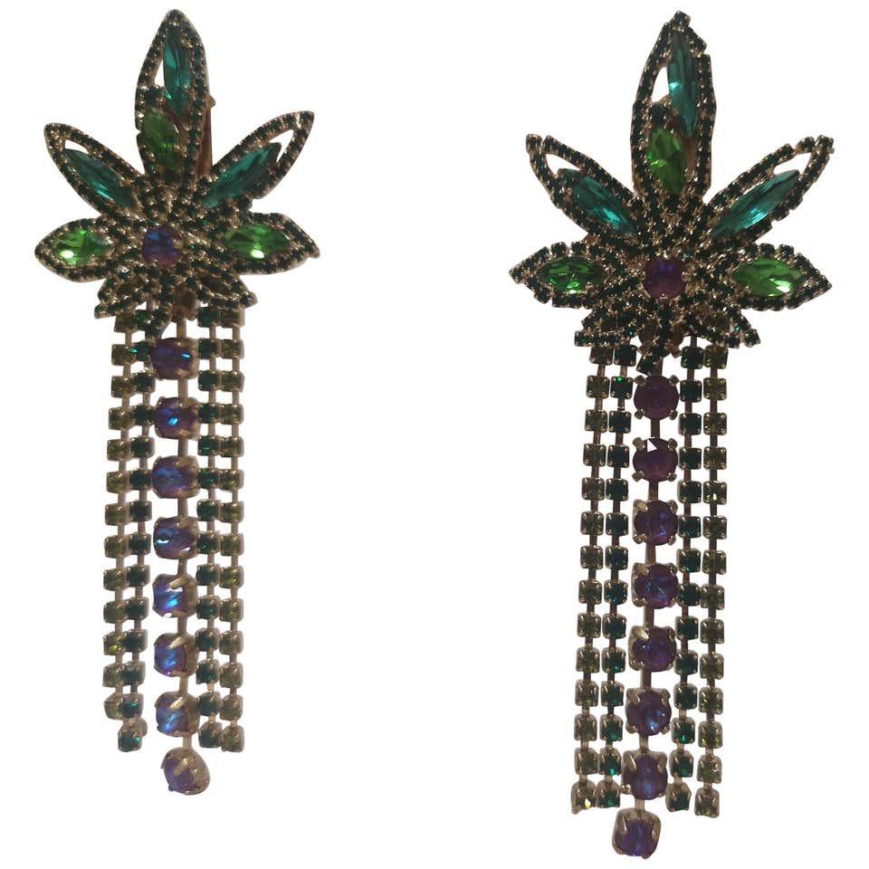 LisaC Swarovski stones weed earrings Lisa C. Bijoux | Orecchini | NICE TRIP-