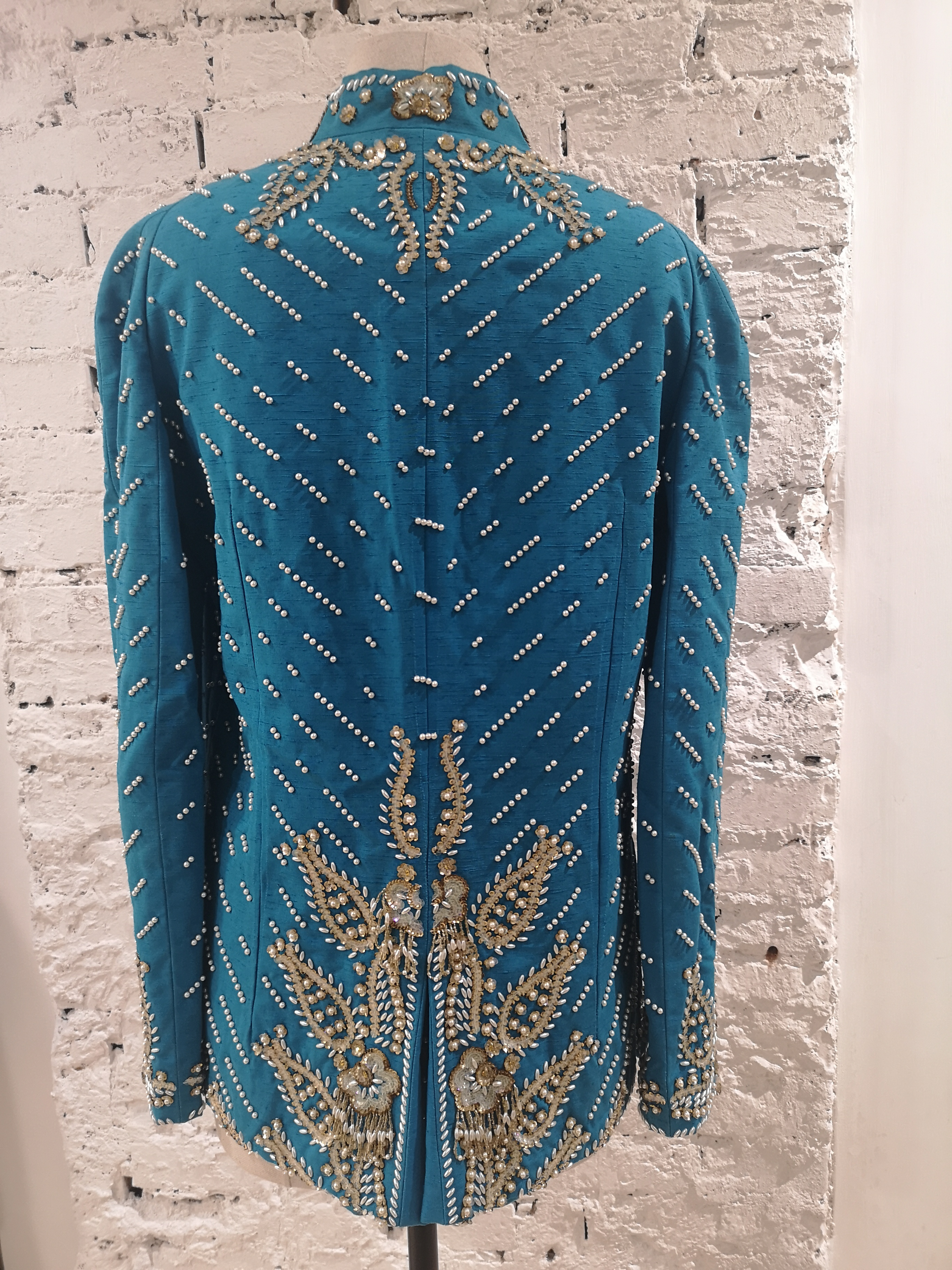 Christian Dior turquoise pearls beads sequins jacket Christian Dior | Giacca | AT020XASDD450ECSPERLE