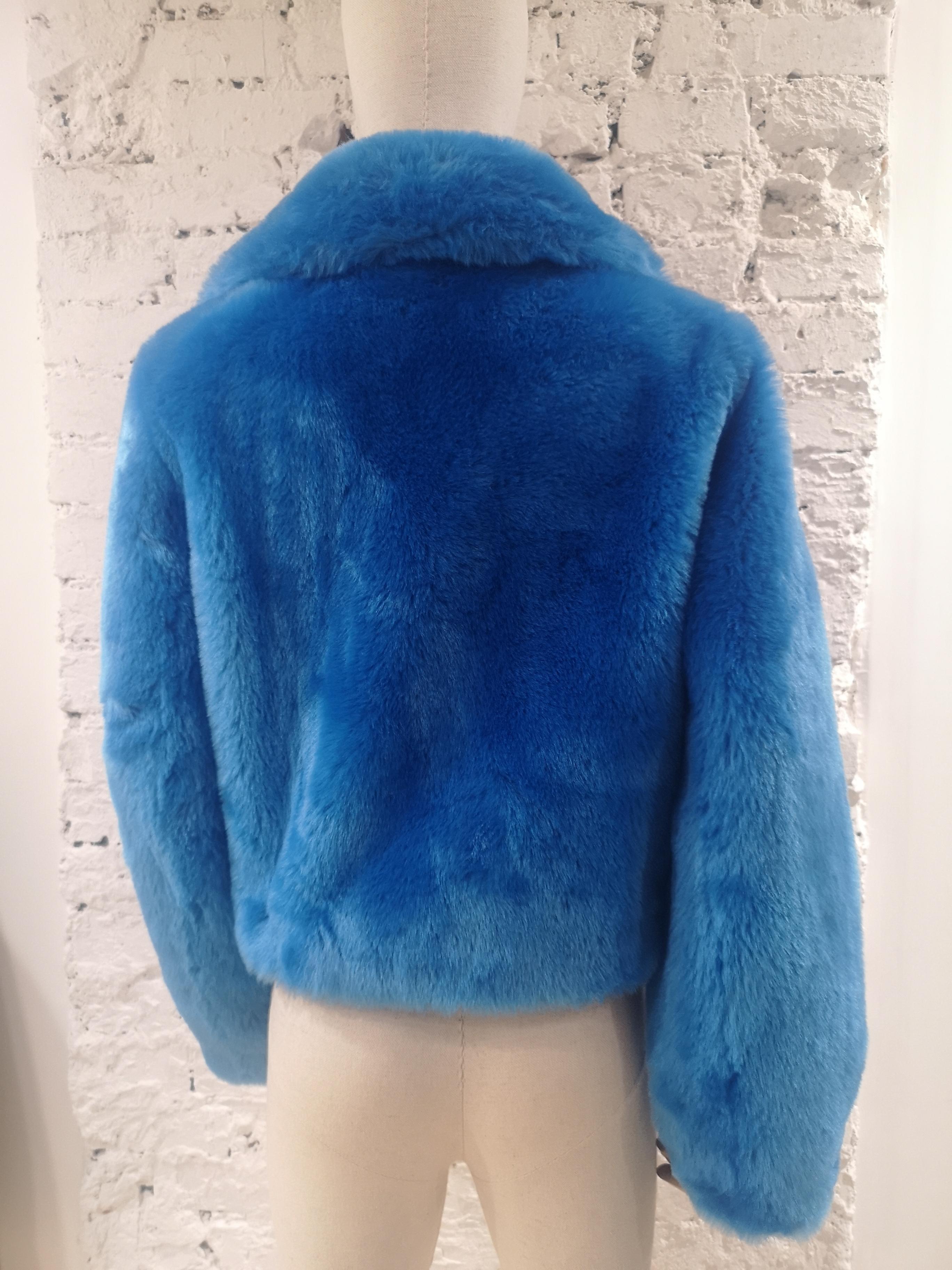 House of Muamua blue faux fur jacket House of Muamua | Bomber | BIKER JACKETBLU