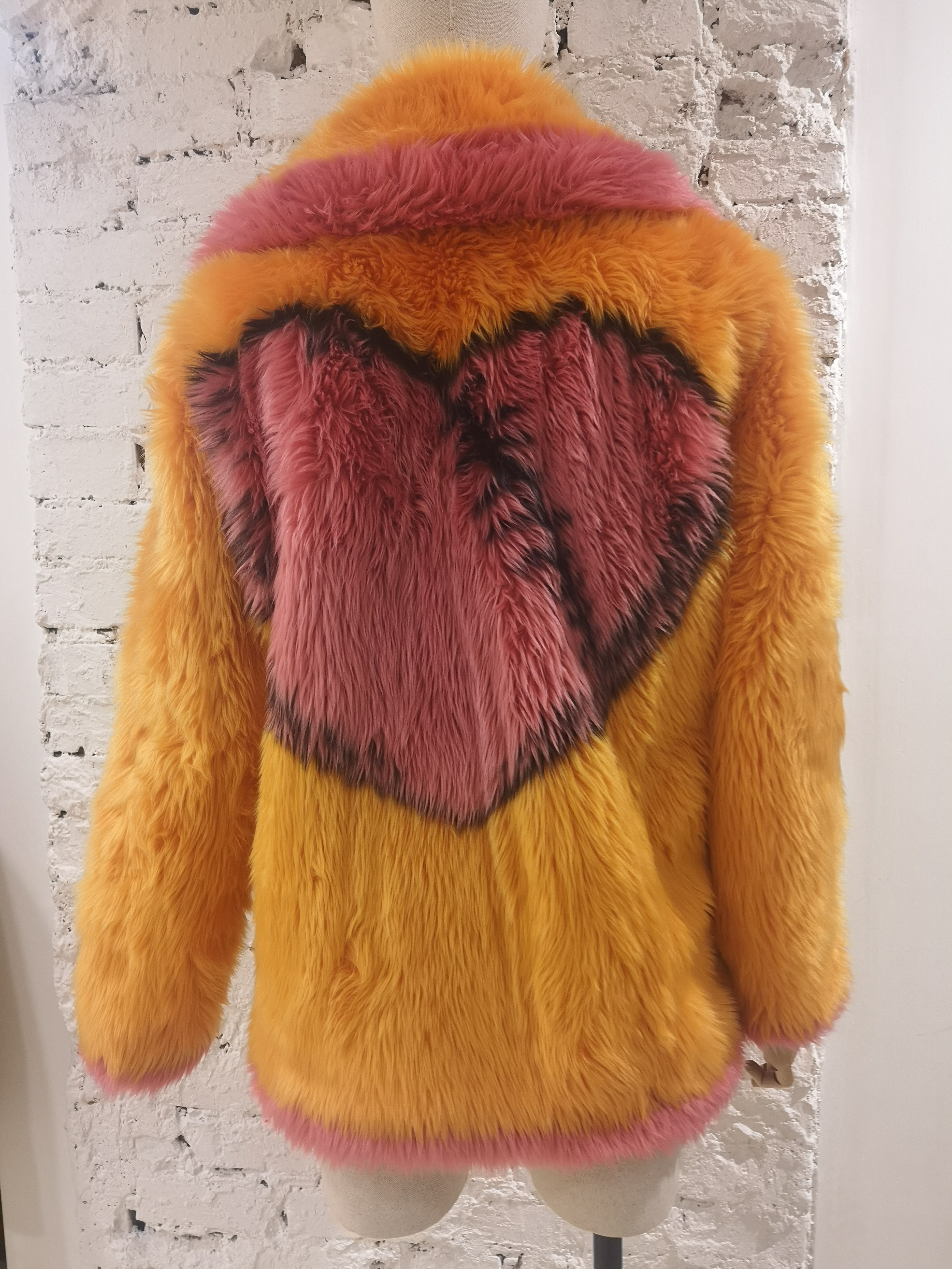 House of Muamua orange pink faux fur jacket House of Muamua   Bomber   BIKER JACKETROSA ARANCIO
