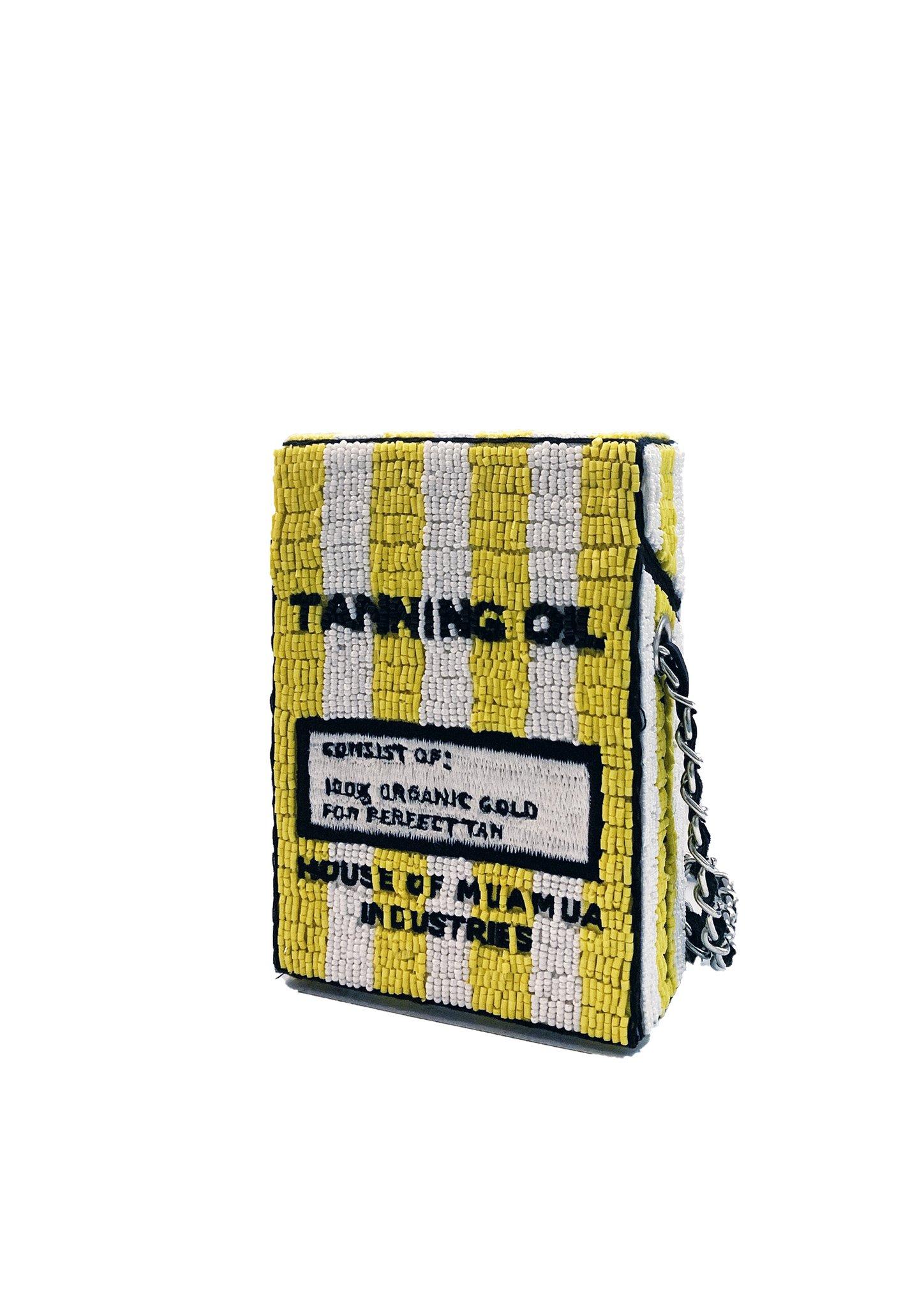 Hand-beaded cross body bag House of Muamua | Borsa | CIGARETTE BAGCOCONUT OIL