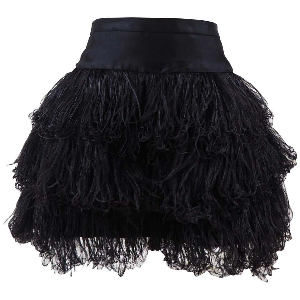 Moschino black feathers skirt Moschino   Gonna   FO0201XS00WPIUME