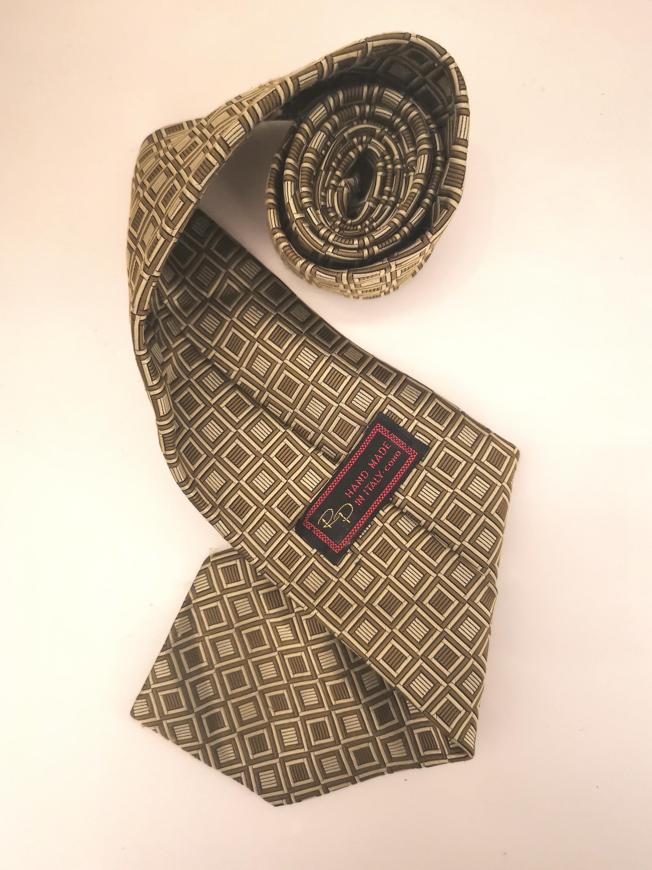 RP handmade silk brown beige tie VIntage |  | CRAVATTA20