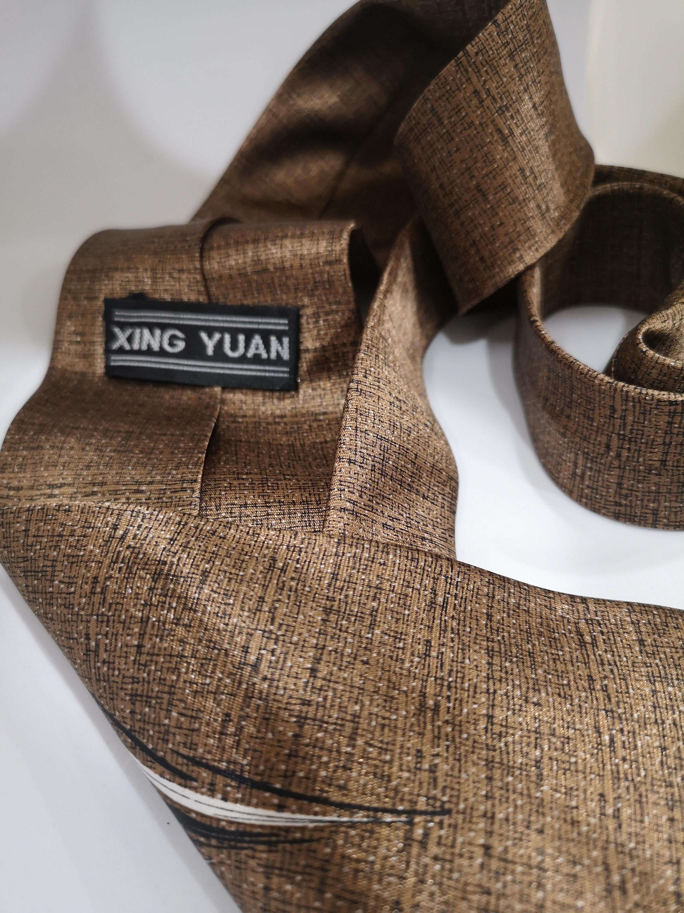 Xing Yuan brown leaf silk tie VIntage | Cravatta | CRAVATTA27
