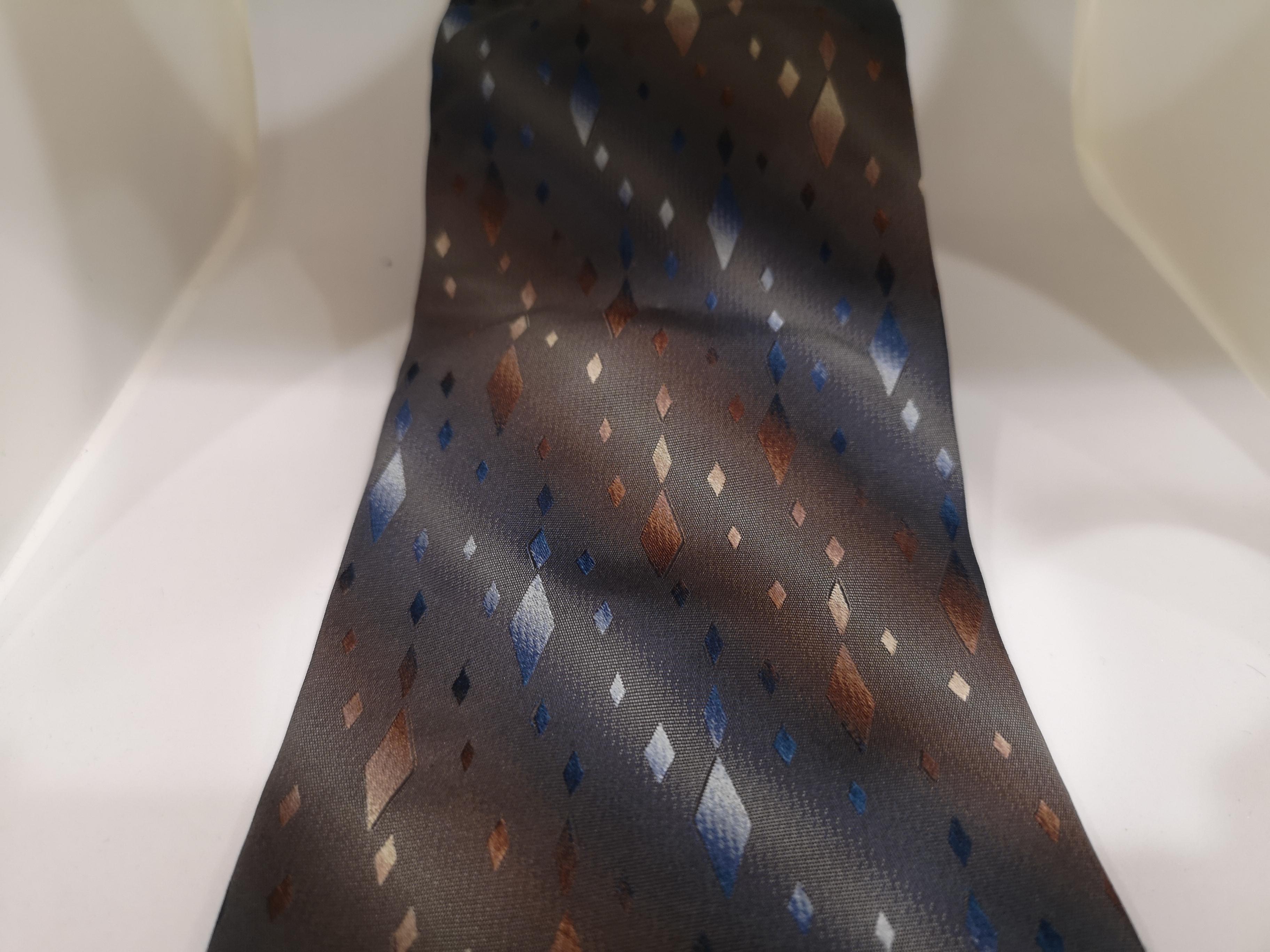 Piattelli grey multicoloured silk tie VIntage | Cravatta | CRAVATTA48