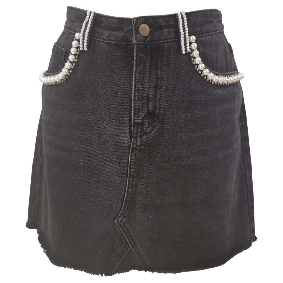 House of Mua Mua denim cotton with faux pearls skirt House of Muamua | Gonna | DENIM SKIRTDENIM