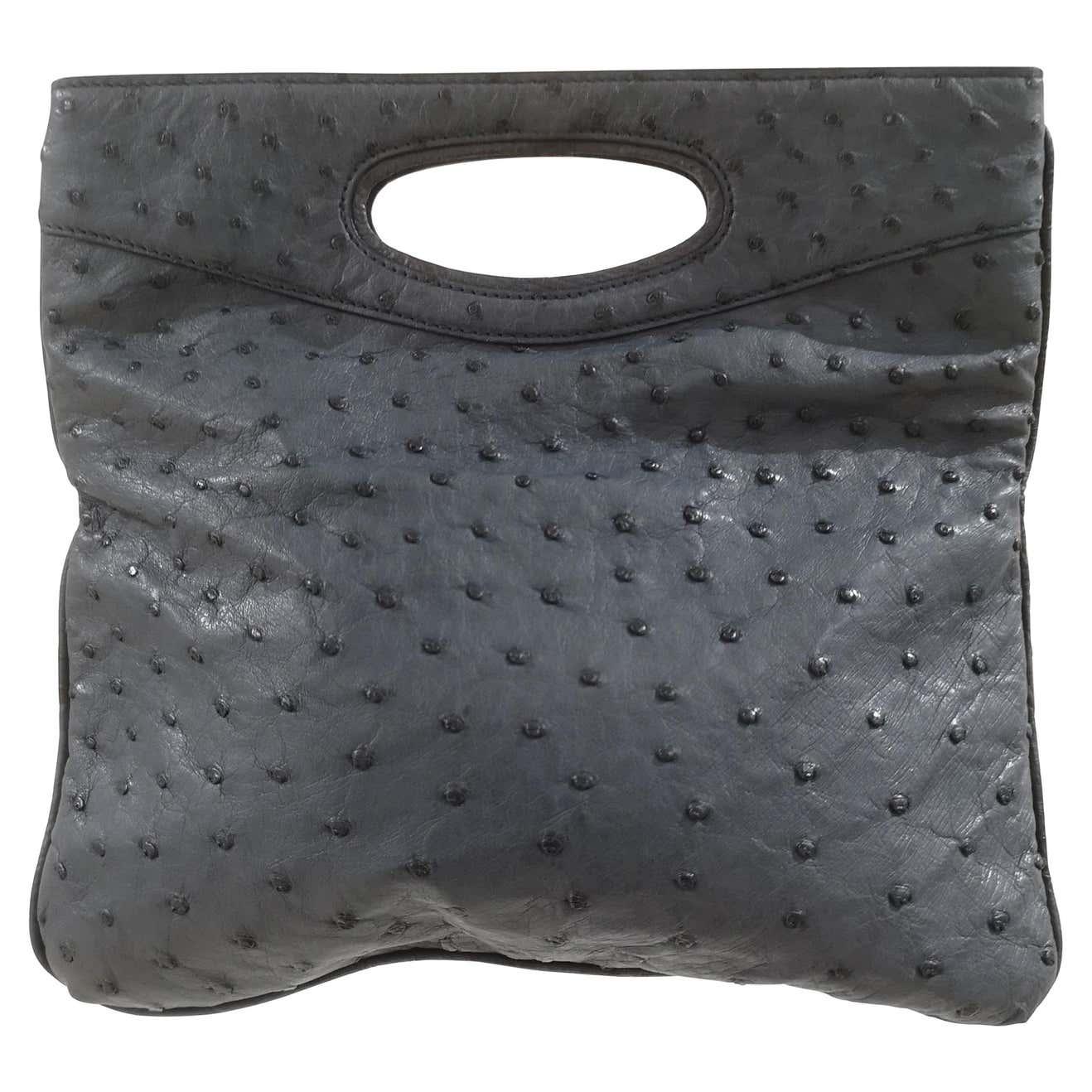 Loro Piana Blue ostrich handle bag clutch Loro Piana | Borsa | AT021650DSRCFSTRUZZO