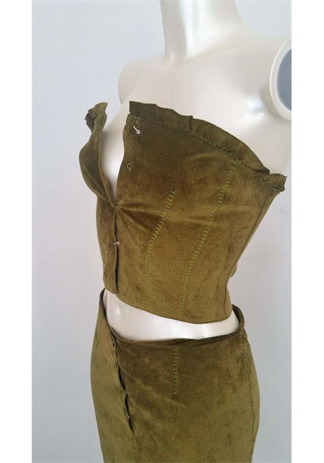 1990s Alberta Ferretti green leather top and skirt  ALBERTA FERRETTI | Suit | EB01A0180EFPELLE