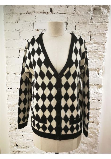 Versace Black & White wool Cardigan Versace | Cardigan Sweaters | VXR014057QUADRI