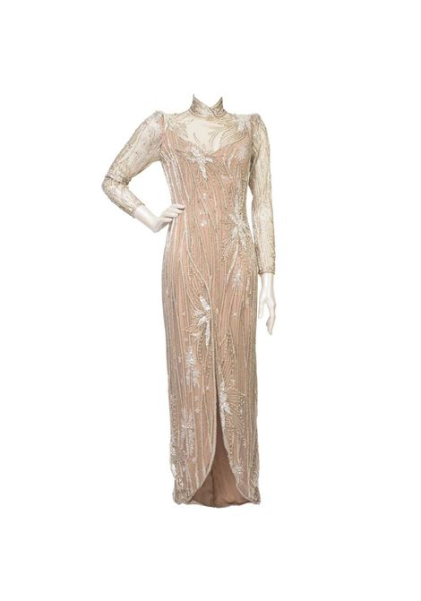 1980s Bob Mackie nude and silver beaded and pearl Gown / Dress