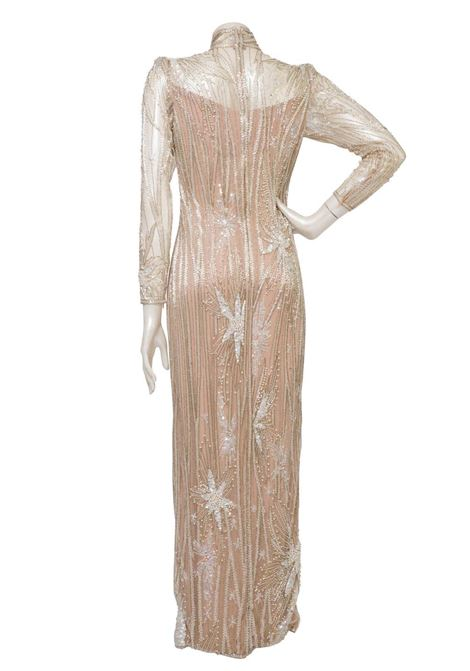 1980s Bob Mackie nude and silver beaded and pearl Gown / Dress Bob Mackie | Abito | VXR1748NUDE