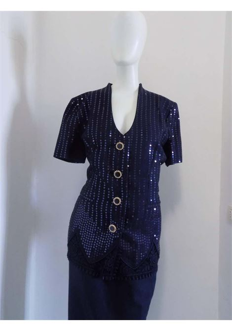 1990s Gai Mattiolo Couture Blu Sequins Suit Tailleur Gay Mattiolo | Suits | VXR017058BLU