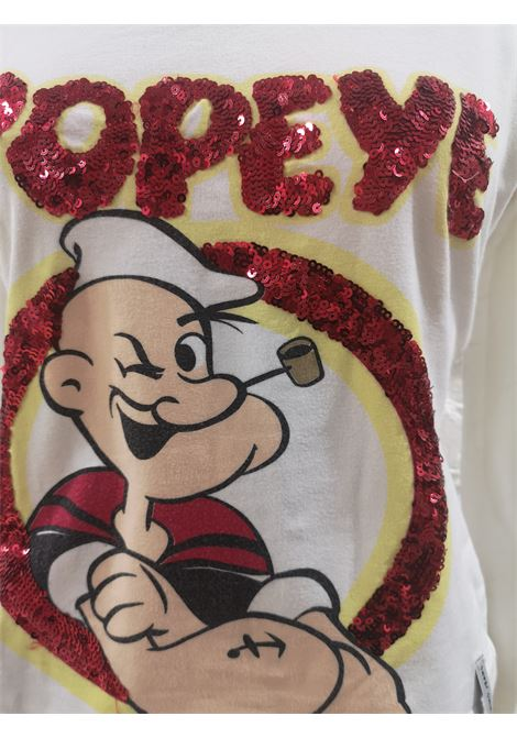 Moschino white cotton red sequins Popeye t-shirt Moschino | Maglia | VXR1761POPEYE