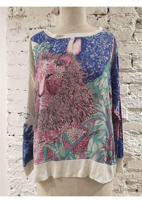 Salvatore Ferragamo white multicoloured silk t-shirt Salvatore Ferragamo | T-Shirts | VXR1756BIANCA