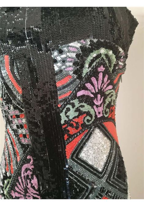 Versace Iconic Museum Sequins and Beads Multicolour Long Dress Versace | Dresses | FDG0170150NERO