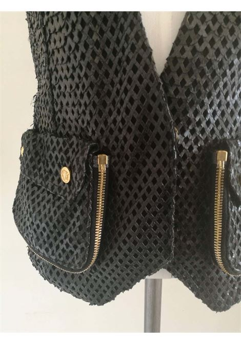 Versace Black Perforated Leather Gilet Versace | Gilet | FDG01750TRAFORATO