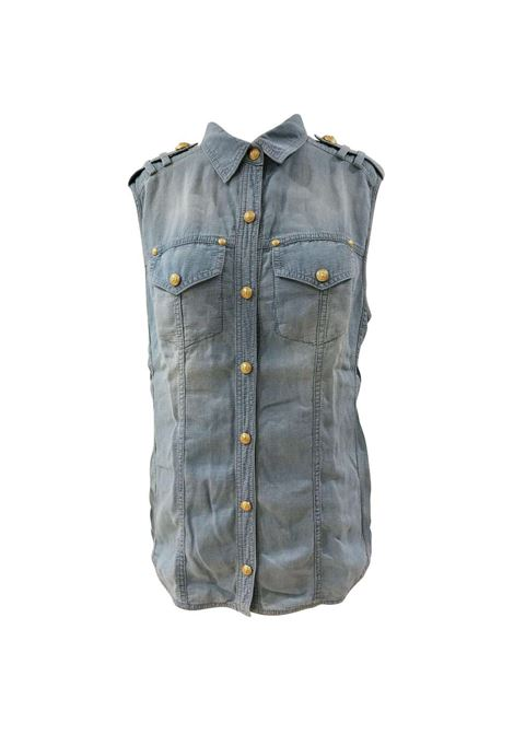 Balmain Light Blue Denim Shirt Balmain | Maglia | SVV018073090LIGHT BLU