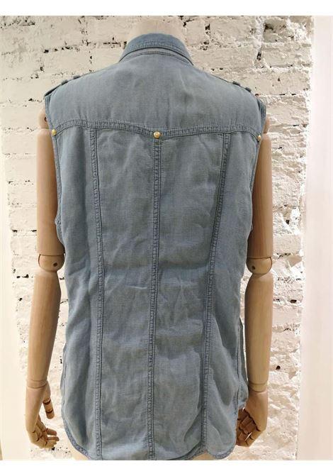 Balmain Light Blue Denim Shirt Balmain | T-Shirts | SVV018073090LIGHT BLU