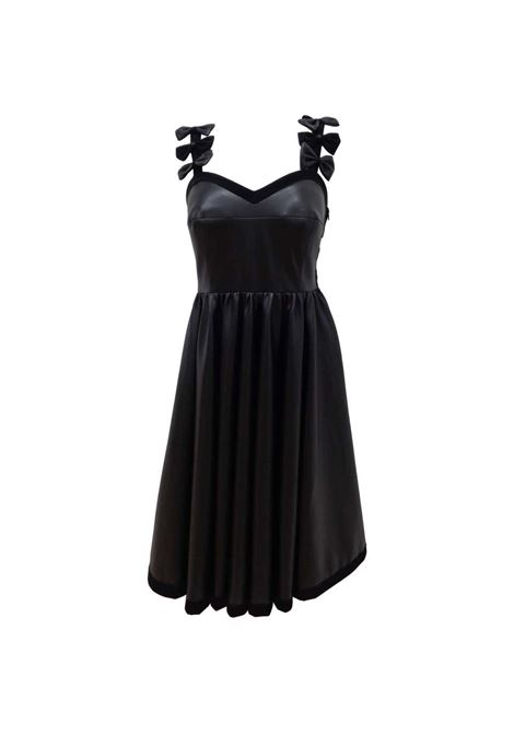 Chanel Black Leather Velvet Bows Dress Chanel | Abito | VXR016074NERO