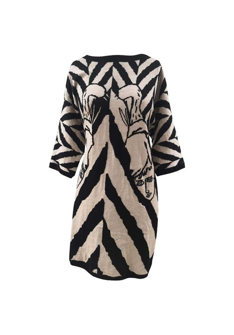 J. Charles de Castelbajac black and white faces wool dress J.C. de Castelbajac | Dresses | VXR01830CJHSPAIETTES