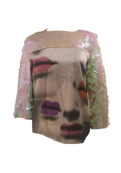 Moschino silk sequins mouth shirt Moschino | T-Shirts | CR01850XXSMULTI