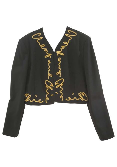 Moschino Cheap & Chic Black Gold Jacket moschino | Giacca | GIACCA MOSCHINOSCRITTA ORO