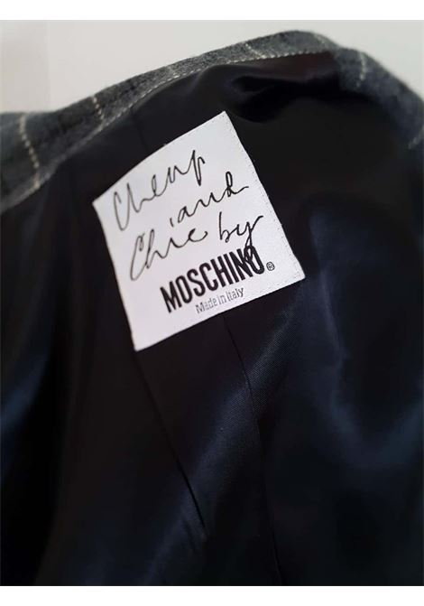Moschino wool grey jacket with black velvet flowers bottons moschino | Jacket | VXR016072GRIGIO