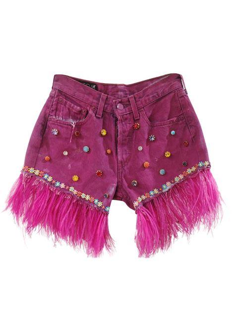 Fucsia painted denim SOAB shorts Soab Capri | Shorts | 54BOTTONI