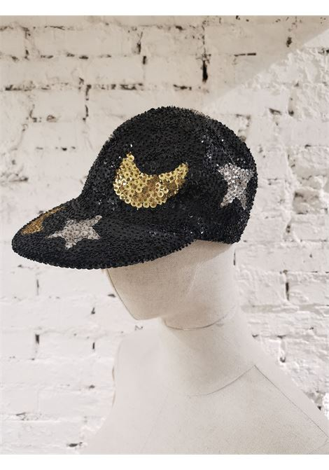 Black silver stars gold moons sequins hat VIntage | Cappello | VXR0011CONCHIGLIA