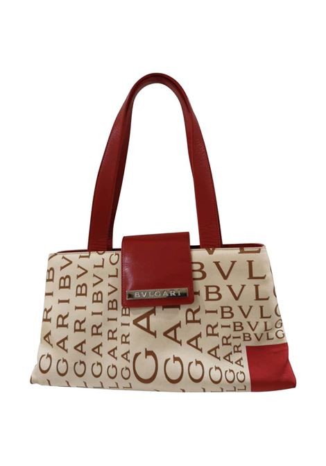Bulgari Monogram Silk and red Leather shoulder bag