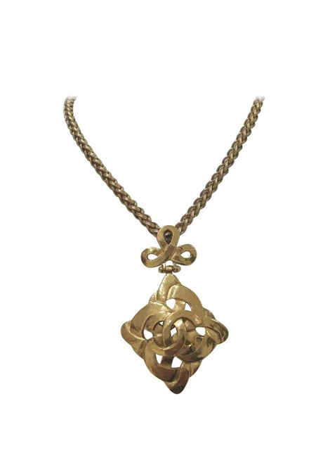 Chanel Gold tone Rhombus Necklace Chanel | Necklaces | LE01955SX0MEDAGLIONE