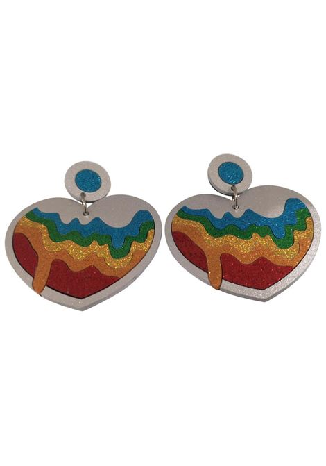 Doodad multicoloured glitter hearts earrings Doodad Fandango | Earrings | RAINBOW CONNECTION-