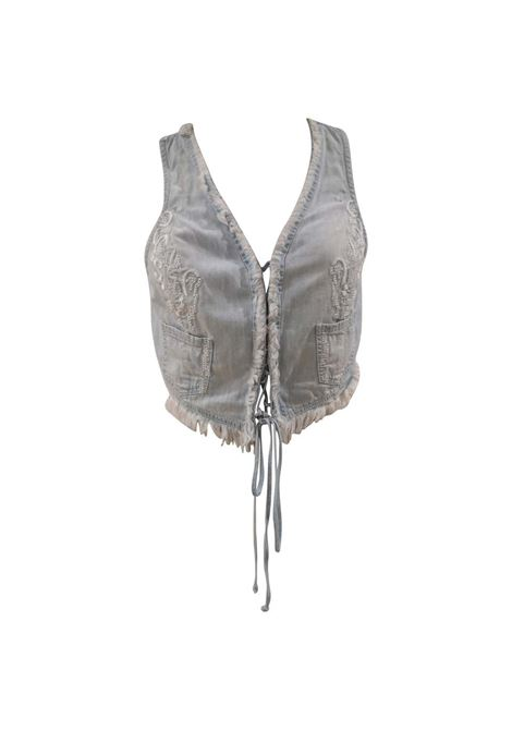 Scervino light blue cotton denim vest Ermanno Scervino | Gilet | GILETDENIM