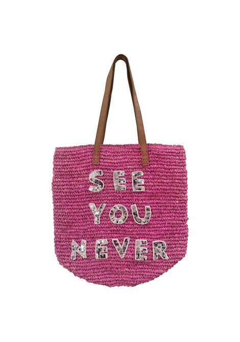 House of Muamua fucsia See you never sequins raffia shoulder bag House of Muamua | Bags | RAFFIAMARKETSEEUNEVER