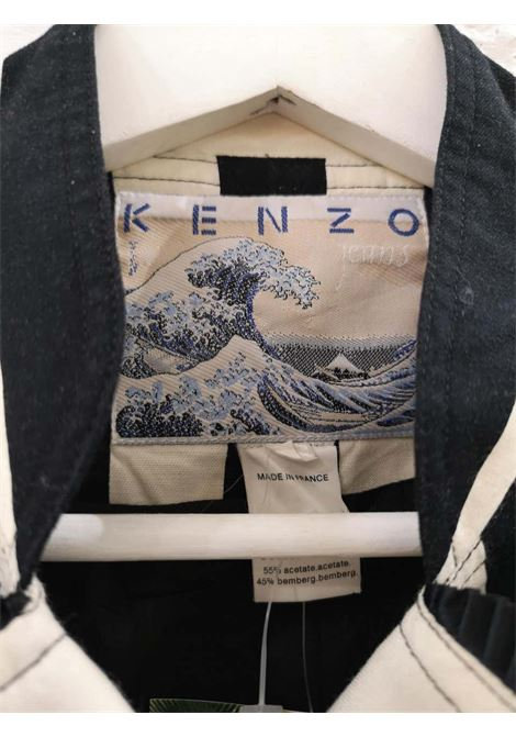 Kenzo off white and Black Flower Jacket kenzo | Jacket | LE01930XS0BIANCO NERO