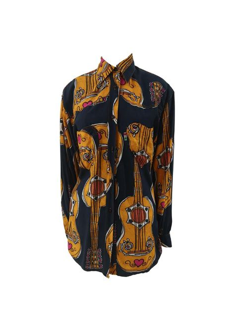 Moschino Blue Navy Picasso / Guitars Shirt moschino | Shirt | PICASSO-