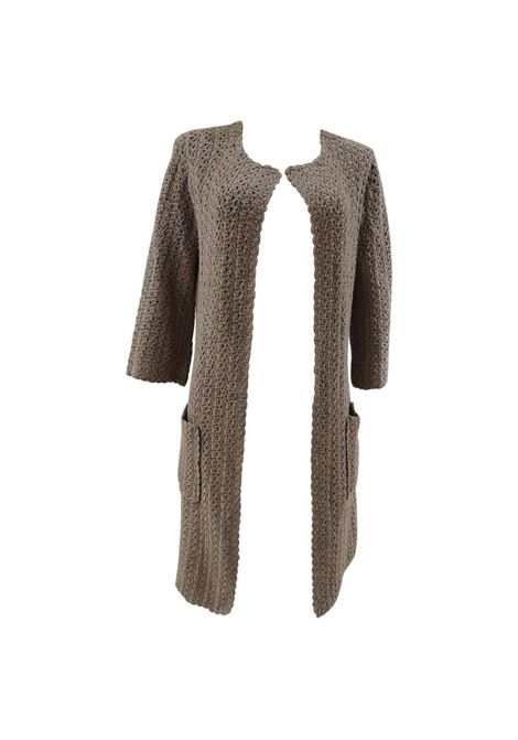 P.A.R.O.S.H beige knit cotton long coat / sweater P.a.r.o.s.h | Giacca | BL01970XSZCINTA