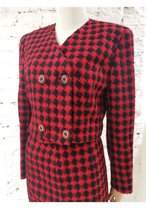 Gianni Versace red and black wool skirt suit Versace | Completo | VXR01950EXSFPIED DE POULE