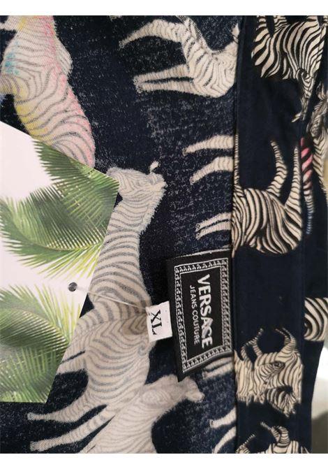 Versace Blu Navy Zebra Cotton Shirt Versace | Shirts | ZEBRE NERONERO