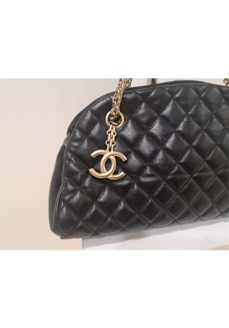 Chanel mademoiselle black leather shoulder bag
