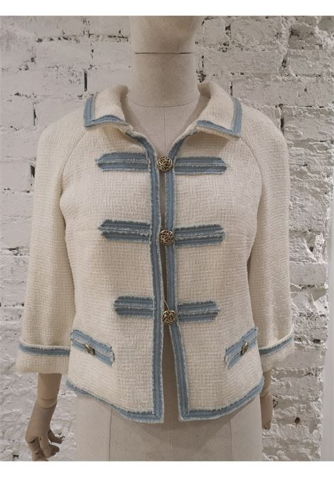Chanel white and denim cotton silk jacket Chanel | Jackets | BIANCA DENIM-