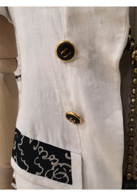 Chanel Boutique white and black linen gold chain jacket Chanel | Jackets | BIANCOPROFILATO NERO