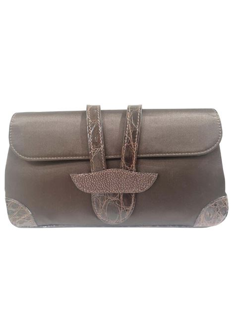 Dotti brown satin and croco print leather clutch Dotti | Pochette | AT020XAD12XS0FCMARRONE COCCO