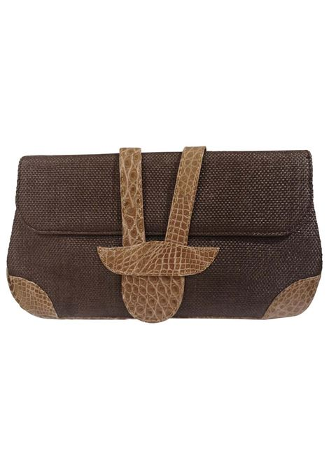 Dotti brown textile and croco print leather clutch Dotti | Pochette | AT020XS120MARRONE