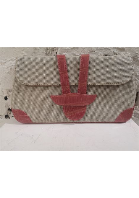 Dotti beige textile and croco print leather clutch Dotti | Pochette | AT020XS120ROSA