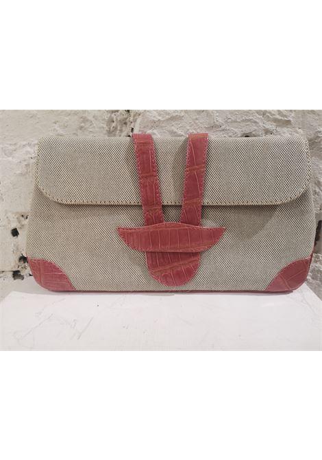 Dotti beige textile and croco print leather clutch Dotti | Pochette | AT020XS120ROSA